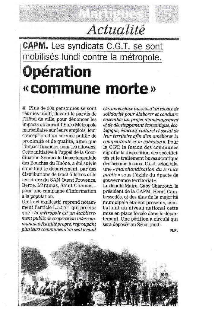 La Marseillaise sur mouvement du 27 Mai dans euro metropole 27-mai-presse